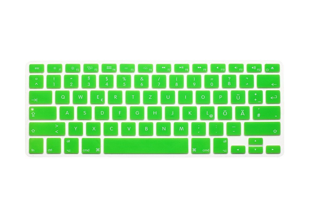 "German / English Keyboard Cover, HQF® Notebook Silicone *German Keyboard Skin Protection* Laptop Layout for All Apple Macbook Air Pro 13"" 15"" US Version(Green)"