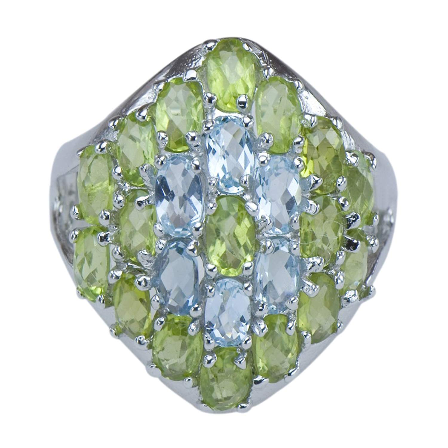 Caratera Fine Jewelry Dazzling Natural Topaz Peridot Gemstone 925 Sterling Silver Cluster Jewelry