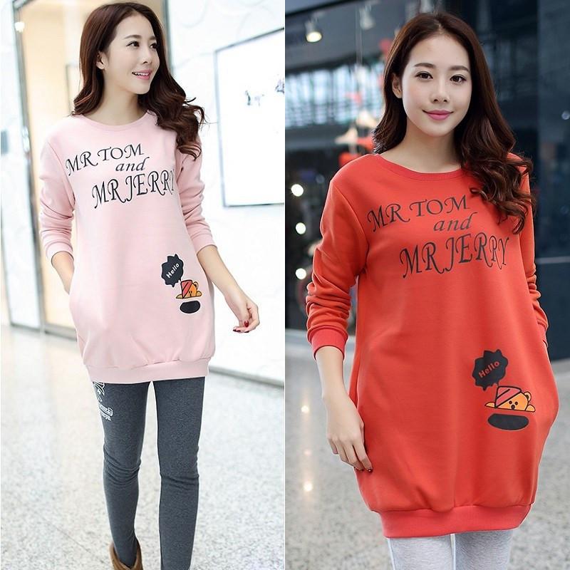 Одежда для беременных зима с длинными рукавами пуловер блузка беременных женщин милый толстовка embarazadas sueter P476
