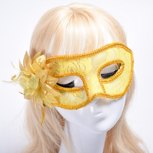 Women Masquerade Venice Flower Feather Mask Translucent Mini Masquerade Mask