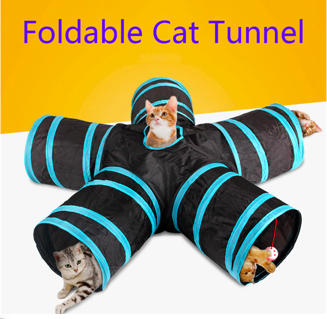 Foldable 5 Holes Pet Cat Tunnel Toys Pets Animals Kitten Rabbit Indoor Outdoor Training Play Tube Supplies Cat and Dog Game Pipe