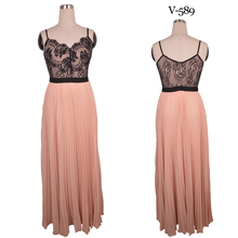 Holiday dresses new design pink chiffon with black lace long party dress for fat women V-589