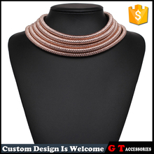 Wholesale Sexy Multi Layer Gold Silver Coil Magnetic Clasp Choker Collar Necklaces For Women