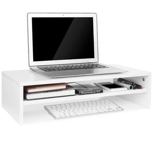 Computer Wood Monitor Stand Screen Riser Desk Storage Rack with 2 Tier Shelves White