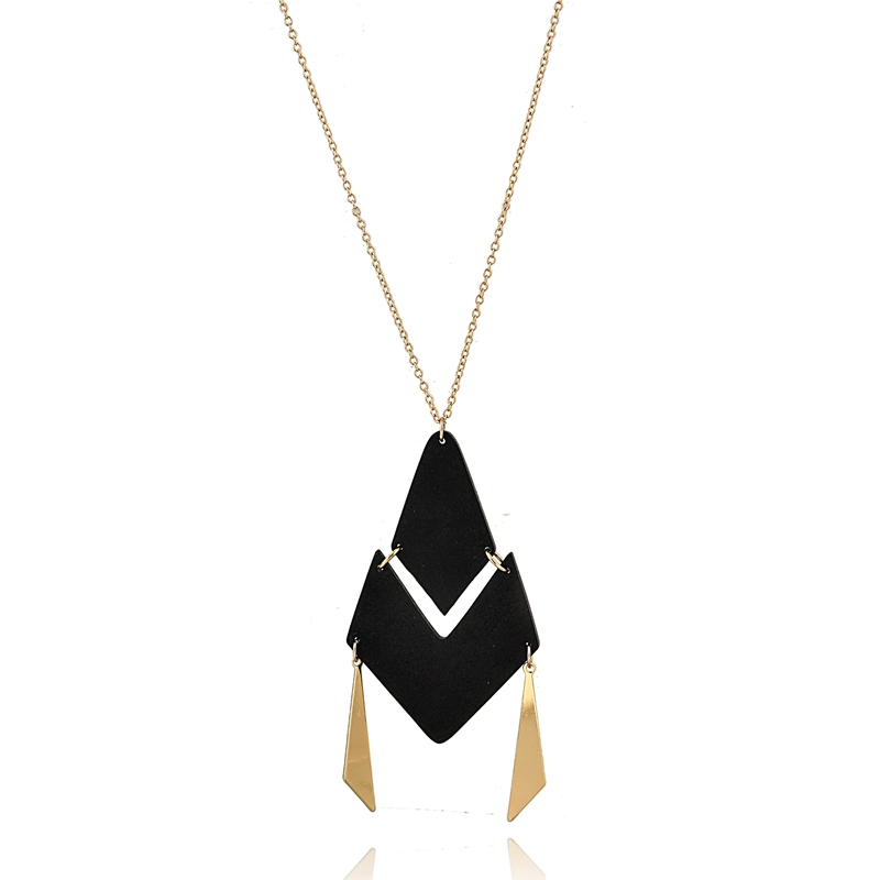 도매 Trendy Charm 긴 Dress 체인 Black Wood 펜 던 트 Necklace women Jewellery