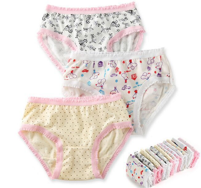 free shipping 12pcs/lot  Girls underwear panties baby underwear shorts kids briefs print briefs girl cotton panties1-10 year