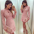 New Arrive Vestidos Women Fashion Casual Lace Dress 2016 O Neck Sleeve Pink Evening Party Dresses