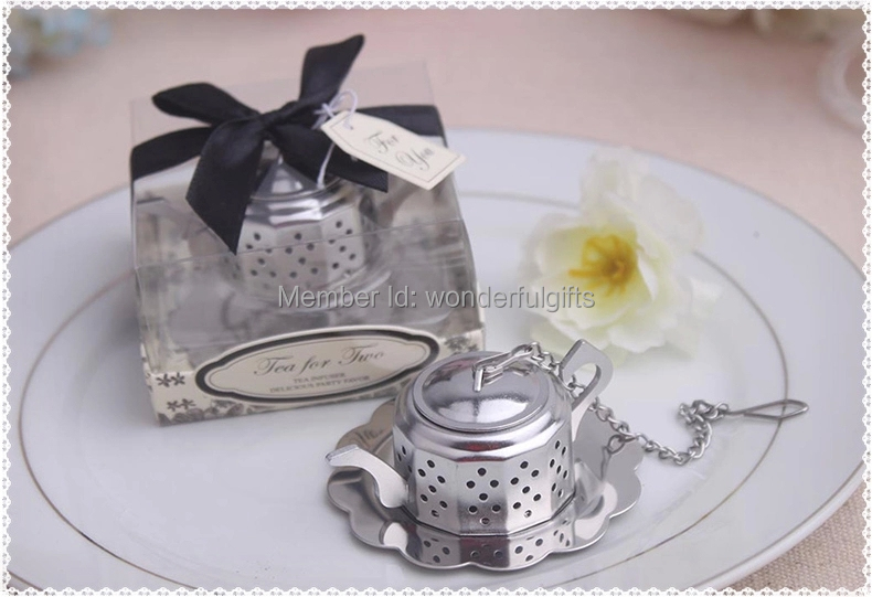 Wedding Favor Gift And Giveaways Tea For Two Teapot Tea Infuser Favours Party Favor 40pcs Lot Free Shipping