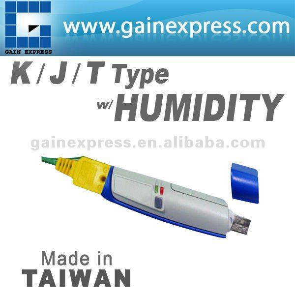 USB K.J.T Type Thermocouple with Humidity Data logger 32K memory without LCD display Made in Taiwan