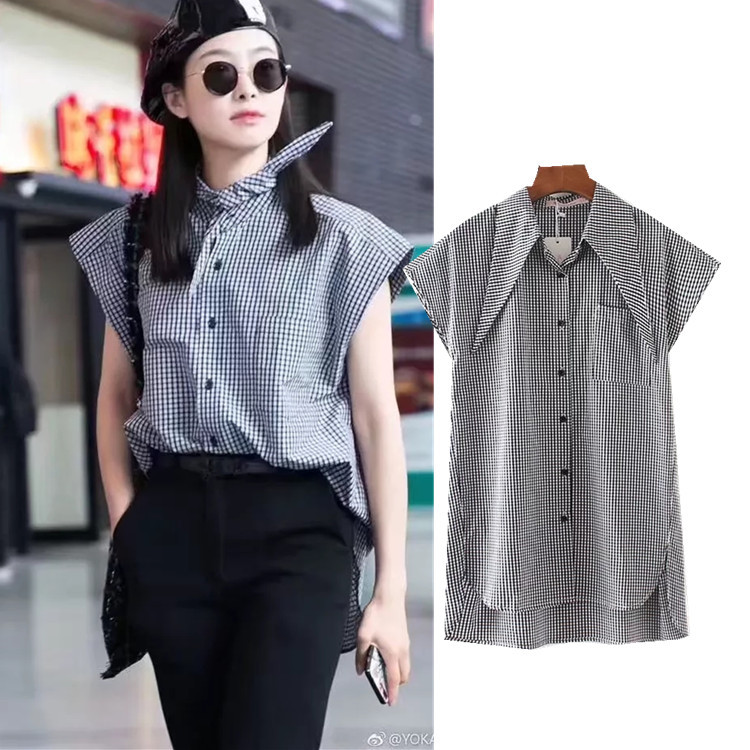 European women's clothes summer new style Lapel shirt female star on the same style hot selling loose lady's shirt