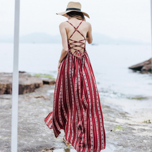 Summer Floral Maxi Dress Backless Boho Chic Women's Beach Dress Red Spaghetti Bandage Holiday Sexy Female Casual Long Dresses