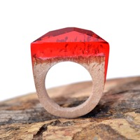 Fashion secret wood rings the setting sun is forest JingMu Couples rings Wood Rings