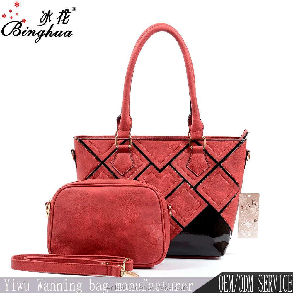 C 50137 Latest Large Shoulder Bag And Purse 2 Sets Red Turkey Whole Designer Handbags
