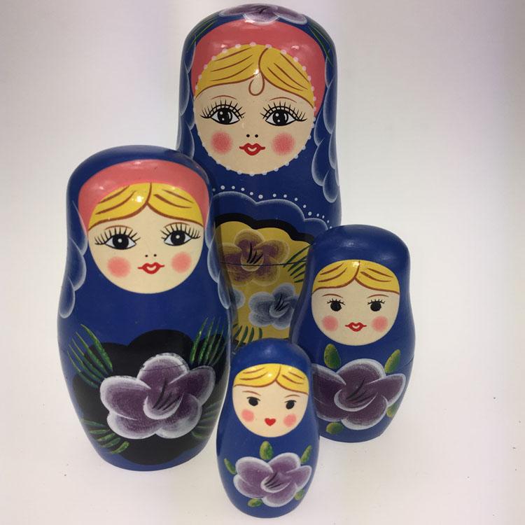 Nesting Dolls Russian Wooden Art 9 Piece 662 Matryoshka Handmade