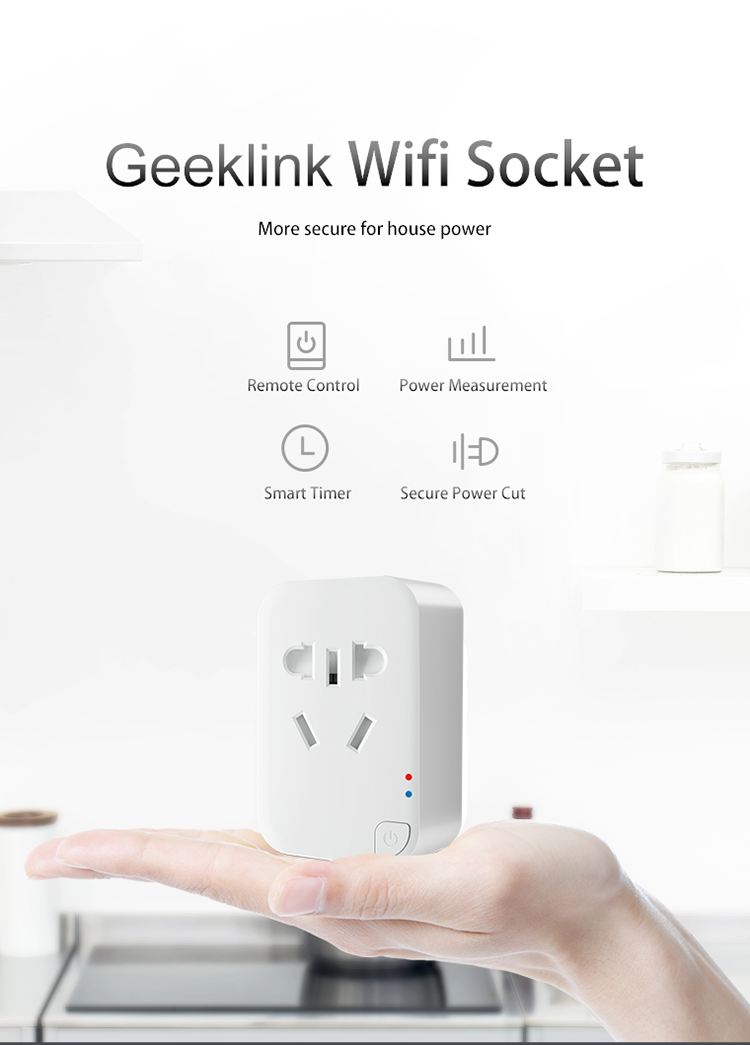 Geeklink New arrival Power measurement CE and RosH smart home electrical remote power outlets wifi controlled sockets