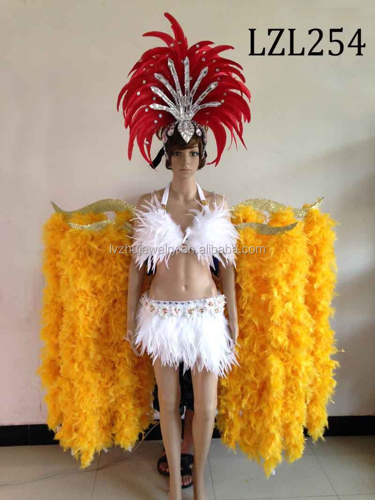 Showgirl/Dance Burlesque Feather samba costume LZL254
