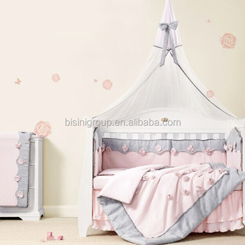 Adorable French Style Pink Flower Linen And Cotten Nursery Bedding Set For Baby Crib Bf12