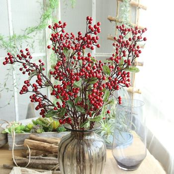 Christmas Red Bean Branch Berry Artificial Flower Manufacturer Home Decoration