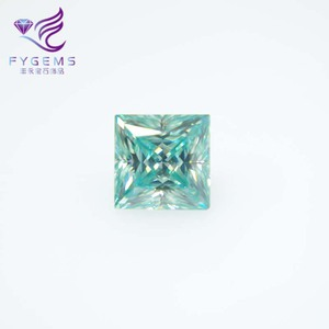 Blue Green Princess Cut Synthetic Loose Moissanite Diamond Gemstone