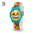 2017 New Design Sport Custom Logo Yellow Lemon Printing Silicone Strap Transparent Plastic Wrist Watch For Kids