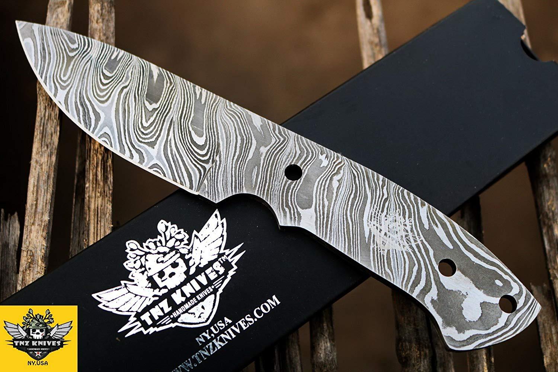 "TNZ-102 USA Damascus Blank 9″ Long 4.5″Blade "" 5.9oz Hunting Camping Skinner blank blade Damascus knife TNZ Hand Made Damascus knives"