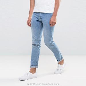 jeans wholesale direct factory slim fit 100% cotton men's jeans pants with stone wash