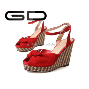 GD Wholesale 2015 Summer Women sandals Wedge High Heels Shoes Sheepskin Leather Women shoes