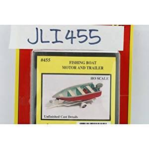 FISHING BOAT, MOTOR, TRAILER - JL INNOVATIVE DESIGN HO SCALE MODEL TRAIN ACCESSORIES 455