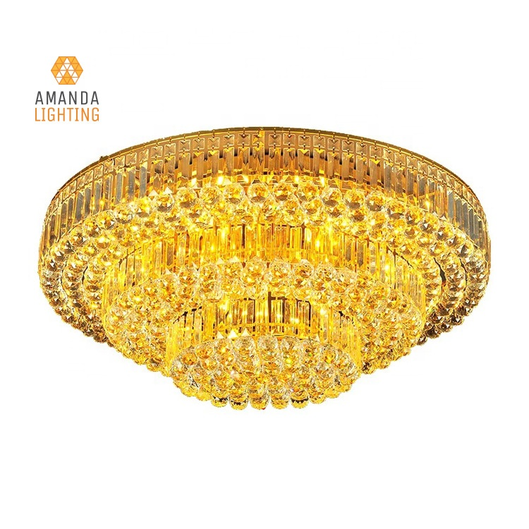 Indoor Modern Gold Luxury Crystal Ball Led Flush Mount Ceiling Light For Living Room Dining Room Ceiling Lamps