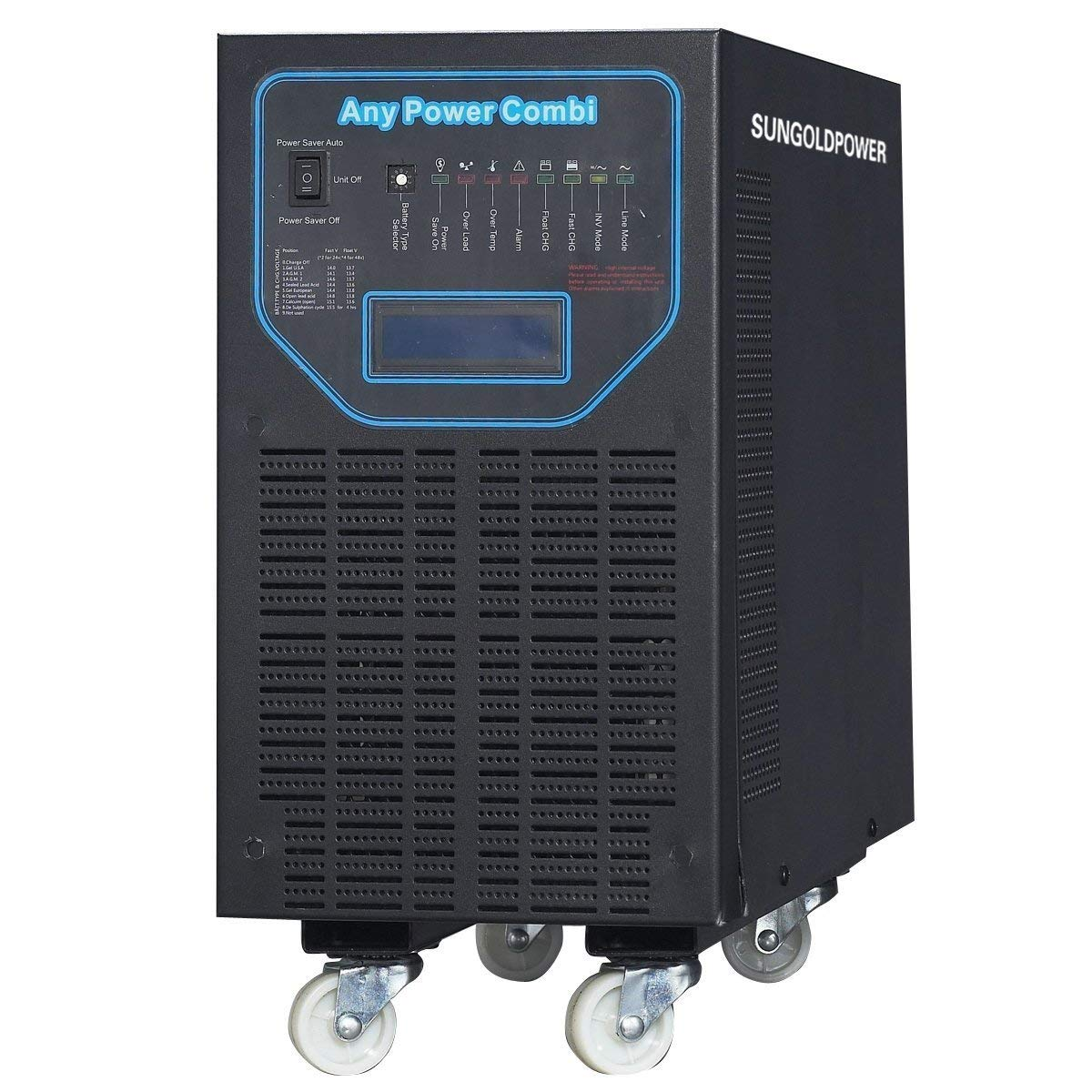 SUNGOLDPOWER 6000W Peak 18000W APV Low Frequency Pure Sine Wave Inverter DC 24V AC Input 240V Split Phase AC Output 120V 240V Battery Charger Built In MPPT 60Amp Solar Charger Controller LCD AGS 48KG