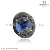New Tanzanite Micro Pave Diamond Ring, Wholesale 14k Gold Ring, Wholesale Designer Diamond Ring