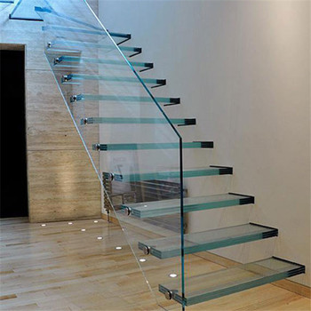 Indoor Glass Stair Laminate Stair Treads And Risers