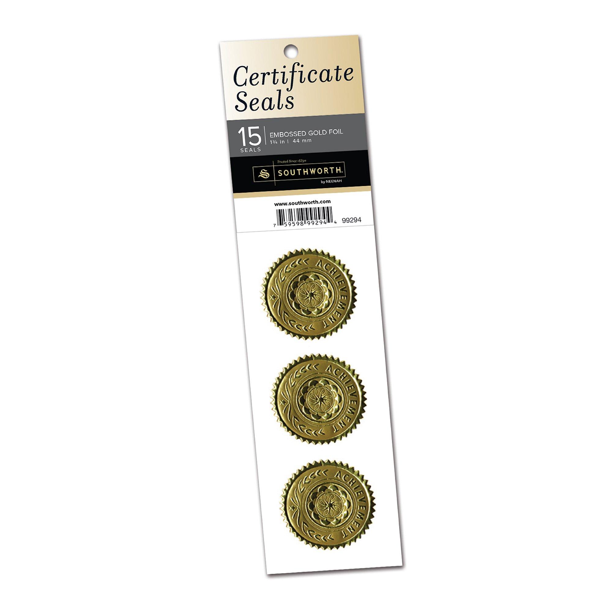 """Southworth Foil Embossed Certificate Seals, 1.25"""" x 2"""", Gold Achievement, 15 Seals (99294)"""