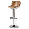 2017 Vintage Top Grain Leather Aviator Bar Stool with Disc Base