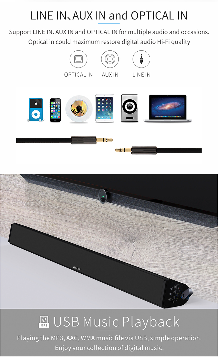 OM-SB100BT Soundbars Speaker 2.1 Subwoofer Home Theater BT Sound Bar