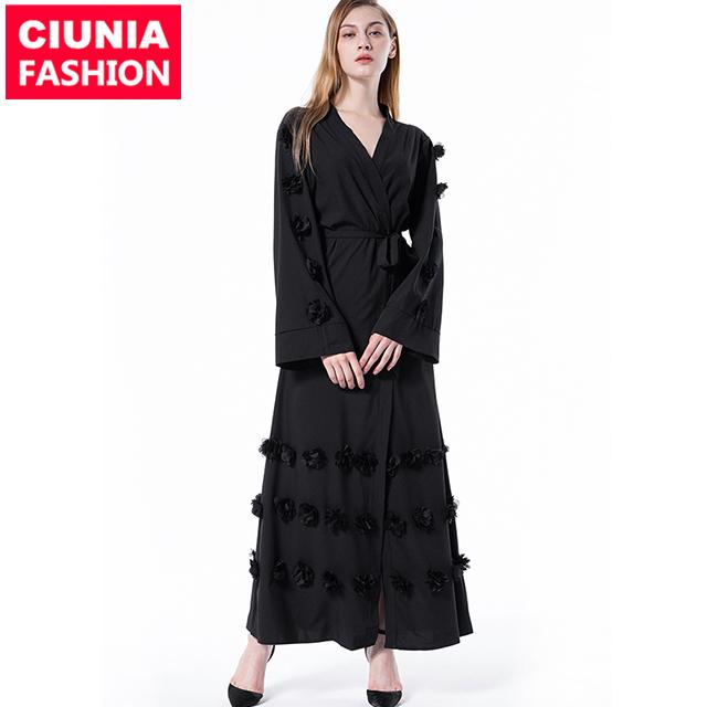 1623#3D floral dubai abaya wholesale simple jilbab pakistan clothing niqab casual dress фото