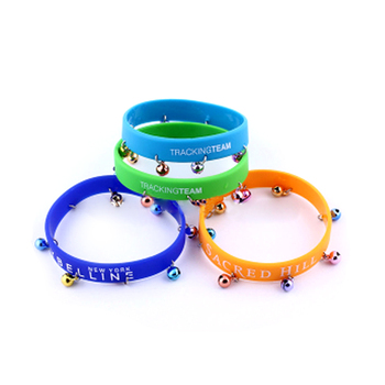 silicon wristband with bell ,colorful ,reasonable and fair-sounding