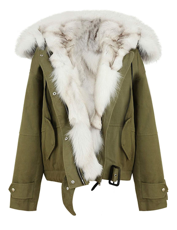 YUNY Womens Faux-Fur Trim Outwear Hooded Warm Cotton Wadded Jacket Black 2XL