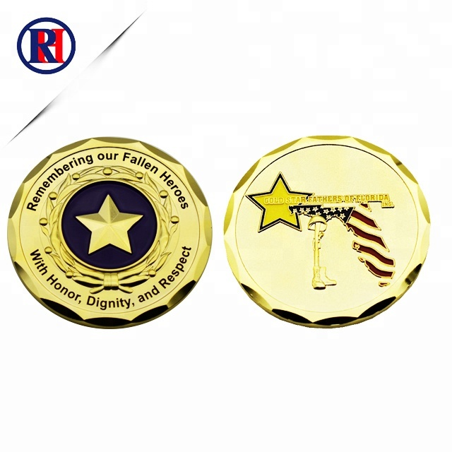 special design plating gold shinny color hard enamel military challenge coin recess <strong>metal</strong>
