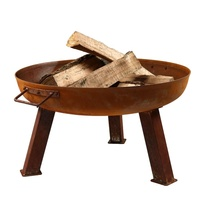 Large Rustic Cast Iron Wood Burning Fire Pit Bowl