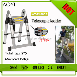 New model lightweight flexible best price double stairs ladder with EN131 folding attic ladder