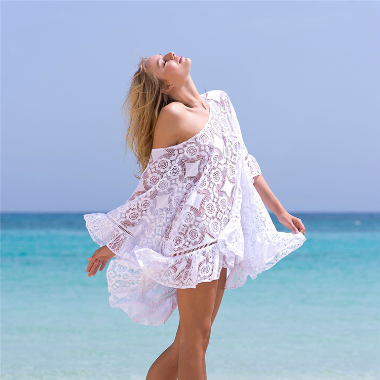 New Arrivals Sexy Beach Cover up White Crochet Robe de Plage Pareos Cover Ups for Women Swim Wear Beachwear Coverups