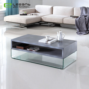Living room cement painting MDF table glass coffee table