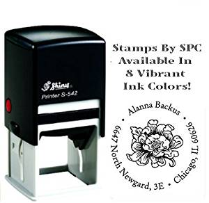 Stamps By SPC // Premium Quality Designer Custom Address Stamp // DESIGN: Cottage Bloom [SPC2PS], Impression: 1-5/8 x 1-5/8, Available In 8 Vibrant Colors of Ink!