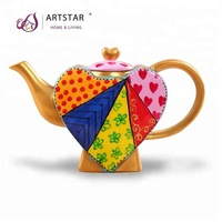eco-friendly hand painted funky ceramic heart teapot
