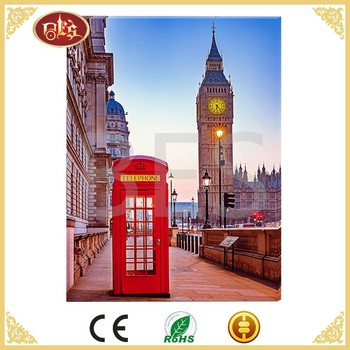 London telephone booth wall painting with led lights, London led canvas prints