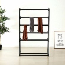 hanging rail black coated clothing display mat towel stand flooring metal cloth rack