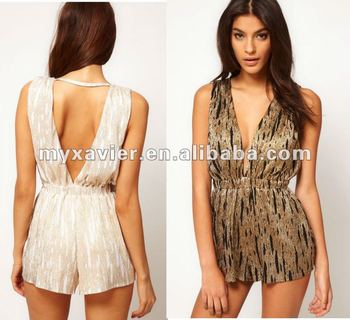 6e74f330f70b Metallic Playsuit With V Front Jumpsuit - Buy Jumpsuit