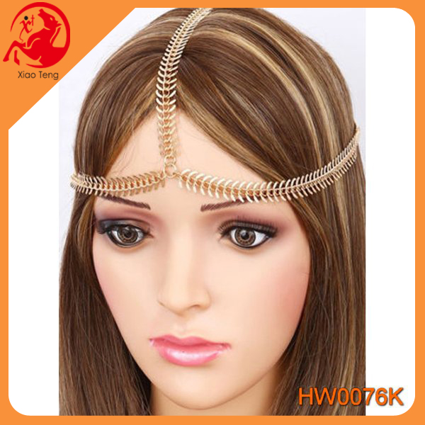 YI Wu Fashion Boho Women <strong>Crown</strong> Hair Cuff Chain Gold Tassels Headband Headpiece Party Fishbone Hair Chain