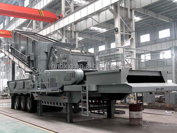 trailer mobile stone crushing and screen plant for quarry aggregrate, artifical sand
